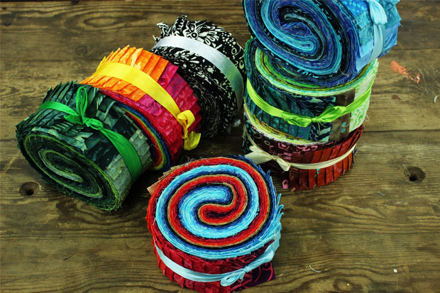 Cotton Batik Pre Cut Fabric Bundles - Jelly Roll  - Summer Nights