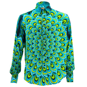 Regular Fit Long Sleeve Shirt - Peacock Mandala - Turquoise