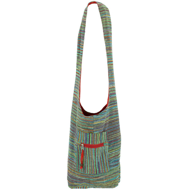 Striped Chenille Sling Shoulder Bag - Multi - Red Lining