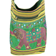 Embroidered Elephant Canvas Sling Shoulder Bag - Light Green