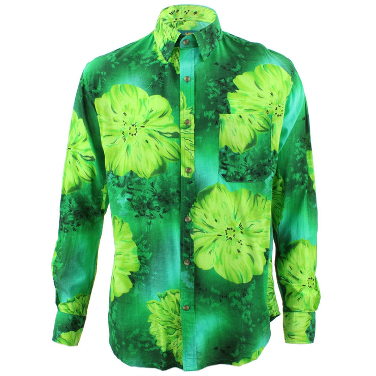 Tailored Fit Long Sleeve Shirt - Bright Green Floral Print