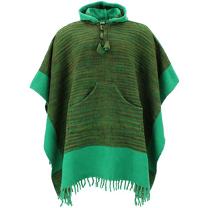 Soft Vegan Wool Hooded Tibet Poncho - Sunset Green