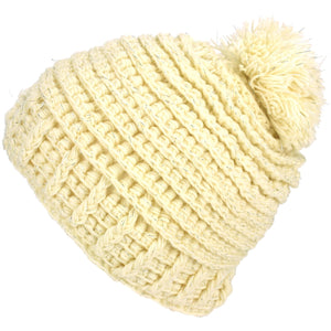 Ribbed Tinsel Bobble Beanie Hat - Cream