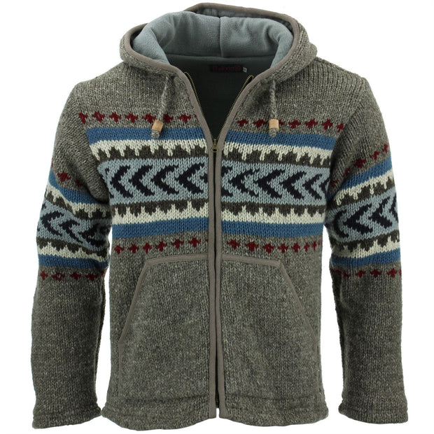 Wool Knit Chevron Hooded Jacket - Grey