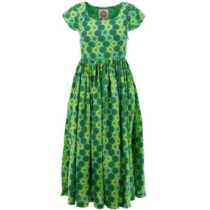 Tea Dress - Green Daisy Spray