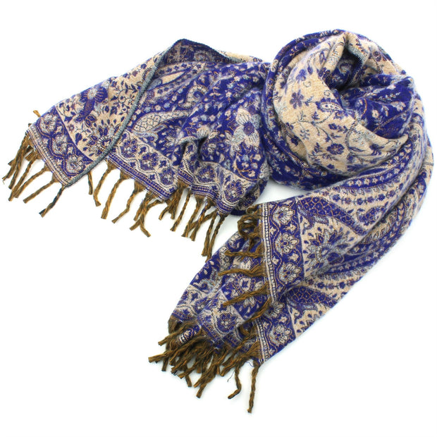 Acrylic Wool Shawl Blanket - Paisley - Royal Blue