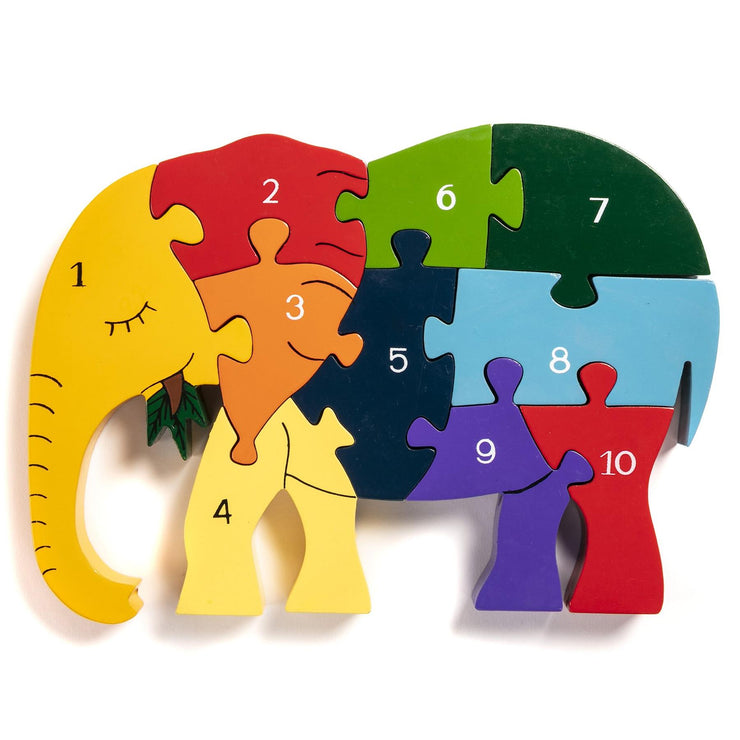 Handmade Wooden Jigsaw Puzzle - Number Elephant