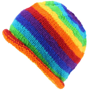 Chunky Wool Knit Beanie Hat with Rolled Brim - Rainbow