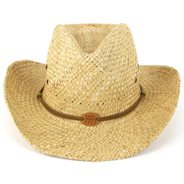 Straw Cowboy Hat with Three Horses Badge