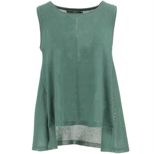 Sleeveless Knitted Top - Grey Green