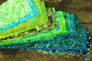 Cotton Batik Pre Cut Fabric Bundles - Jelly Roll  - Ocean Tones