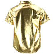 Shiny Metallic Short Sleeve Shirt - Gold