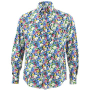Tailored Fit Long Sleeve Shirt - Bright Blue & White Floral