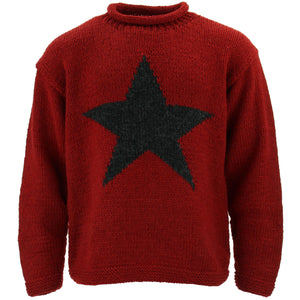 Chunky Wool Knit Star Jumper - Red & Charcoal