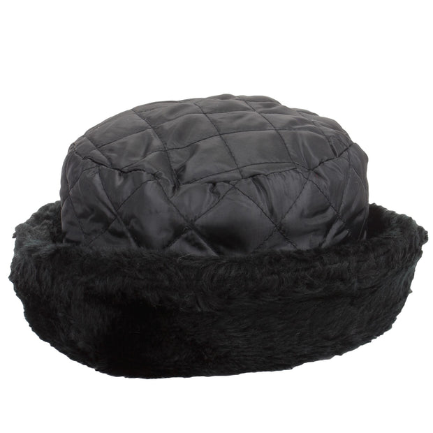Quilted hat with faux fur trim - Black