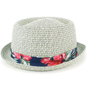 Straw Porkpie Hat with Hawaiian Floral Band - Grey