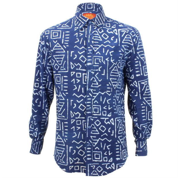 Regular Fit Long Sleeve Shirt - Blue with White Abstract Shapes