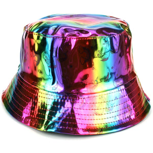Shiny Metallic Bucket Hat - Unicorn Rainbow