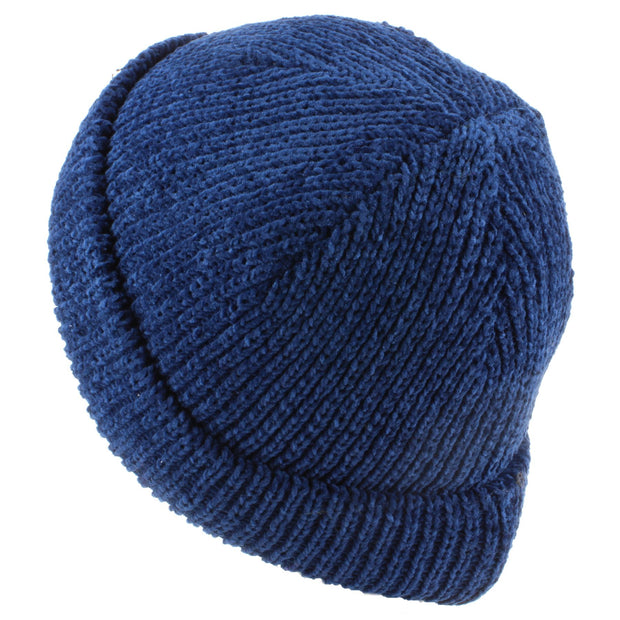 Chenille beanie hat with fleece lining - Blue (One Size)