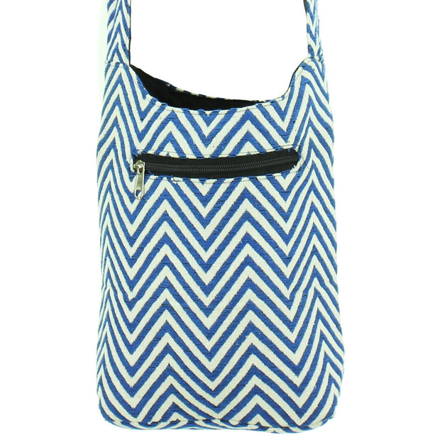 Cotton Canvas Sling Shoulder Bag - ZigZag Blue