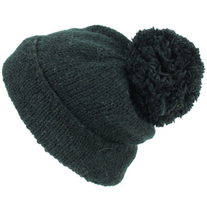 Chunky Wool Knit Baggy Slouch Beanie Bobble Hat - Black