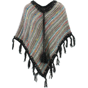 Stripe Crochet Poncho Short - Grey/Black