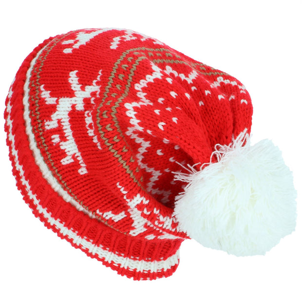 Chunky Slouch Bobble Beanie Hat with Reindeer Pattern - Red