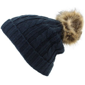 Childrens Cable Knit Beanie Hat with Faux Fur Bobble and Turn-up - Navy