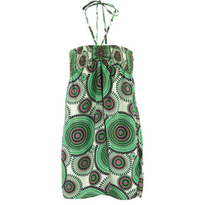 Halterneck Wrinkle Dress - Green Kaleidoscope