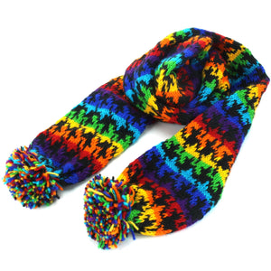 Chunky Wool Knit Scarf - Rainbow Houndstooth