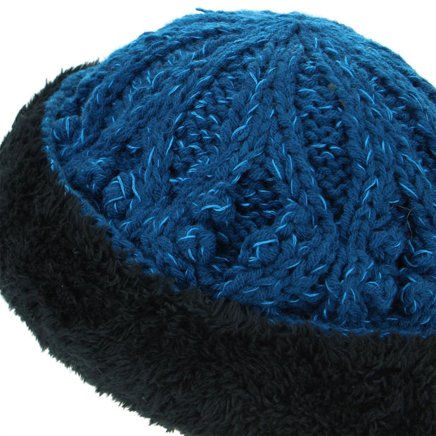 Acrylic Knit Beanie Hat - Blue