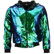 Sequin Hooded Bomber Jacket - Green