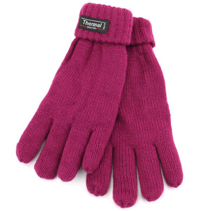 Fold Up Cuffs Thermal Gloves - Raspberry