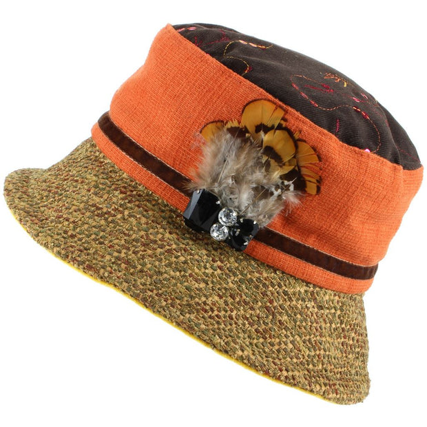 Ladies Mixed Fabric Cloche Hat with Textured Brim
