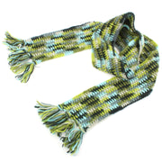 Long Narrow Chunky Wool Knit Scarf - Green & Blue