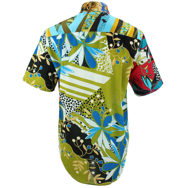 Regular Fit Short Sleeve Shirt - Random Mixed Panel - Abstract