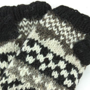 Chunky Wool Knit Arm Warmers - Chevron - Black