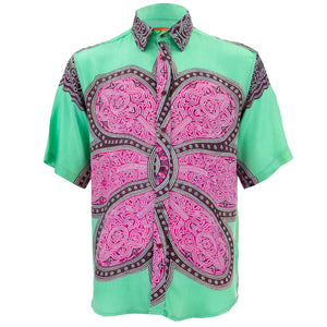 Regular Fit Short Sleeve Shirt - Flower Mandala - Green