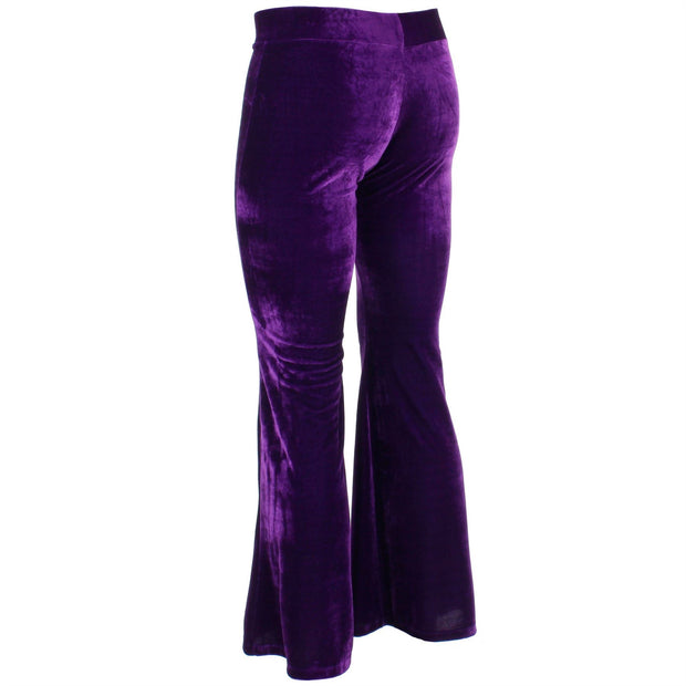 Velvet Flares Trousers - Purple