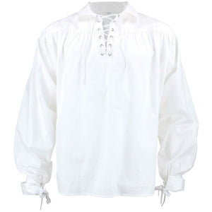 Long Sleeve Cotton Pirate Shirt - White