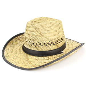 Straw cowboy hat with band and trim - Black
