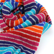 Chunky Wool Knit Scarf - Stripe Blue