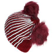 Bling Diamante Studded Chunky Knit Beanie Hat with Two Bobbles - Red