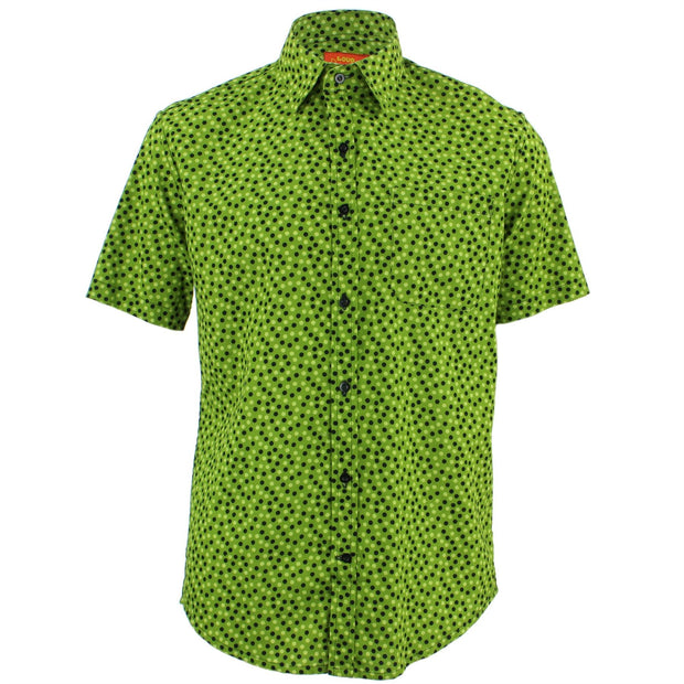 Tailored Fit Short Sleeve Shirt - Dotty Green