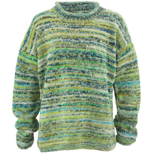 Chunky Wool Knit Space Dye Jumper - Bright Green