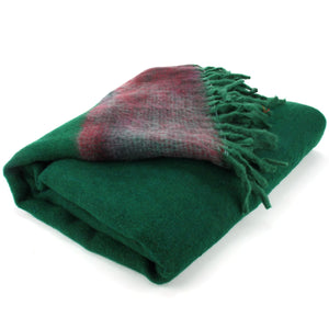 Tibetan Wool Blend Shawl Blanket - Green with Maroon & Grey Reverse