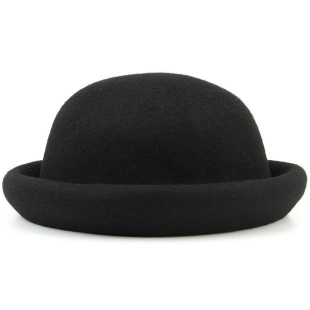Wool felt rolled brim bowler hat with large bow - Black
