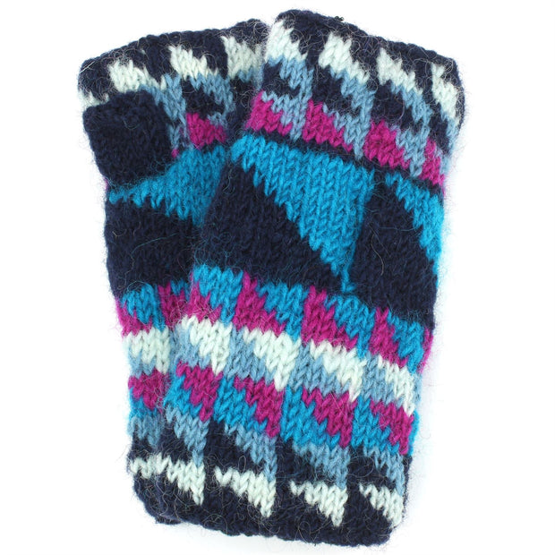 Wool Knit Arm Warmer - Triangles - Blue