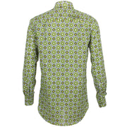 Regular Fit Long Sleeve Shirt - Green Diamond Abstract
