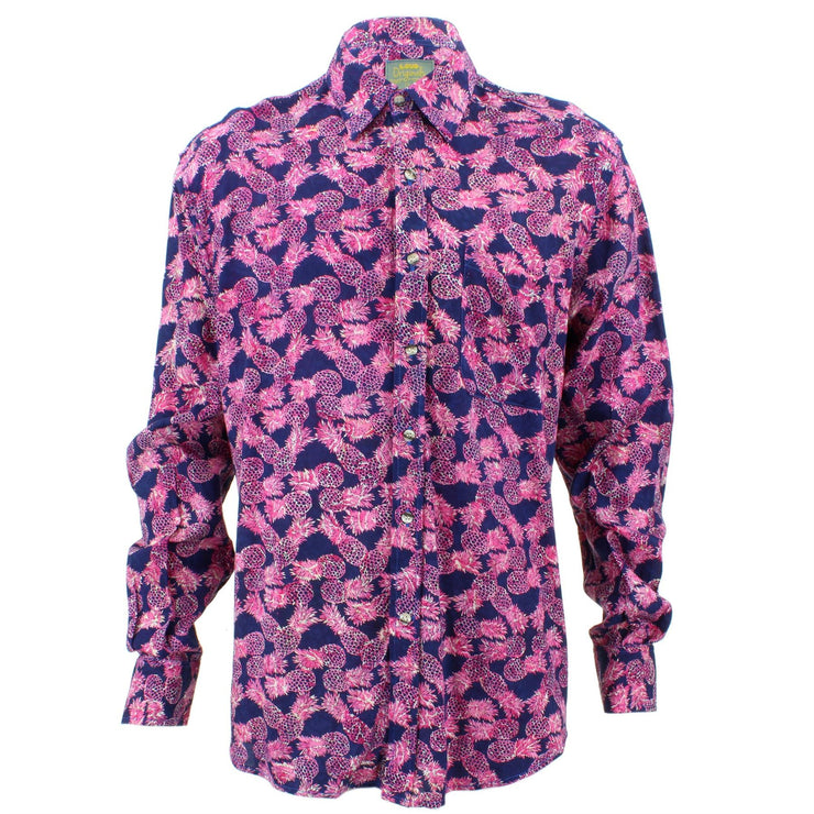 Tailored Fit Long Sleeve Shirt - Bright Pink Pineapple Print